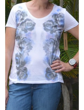 DKNY Jeans - Women's Grey Rose Cap Sleeve T Shirt.