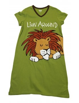 LazyOne - Lion Around V-Neck Nightshirt 100% Cotton