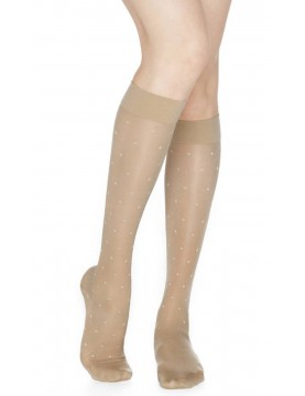 Rejuva - Knee Highs Dots Sheer Compression Stockings -15-20mmHG