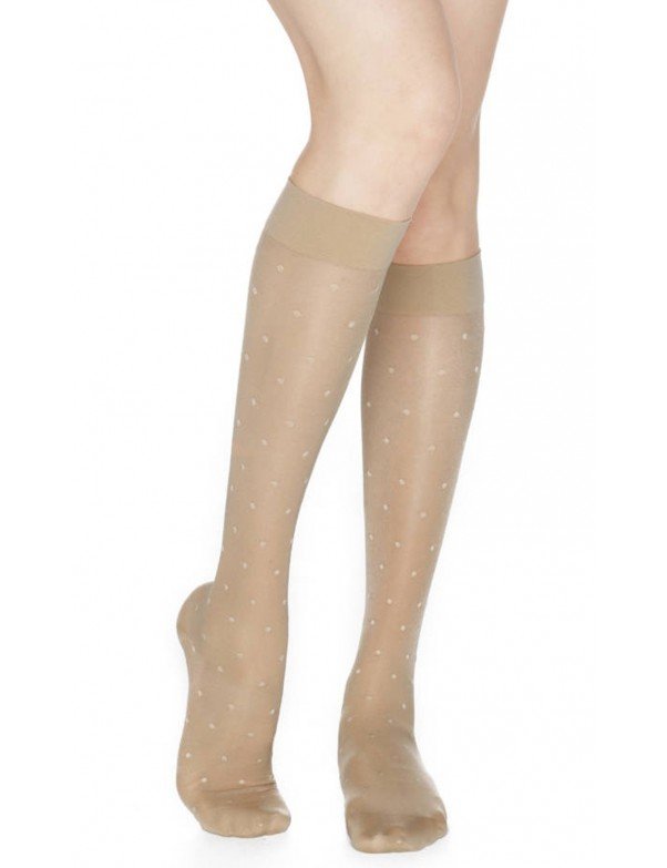 Rejuva - Knee Highs Dots Sheer Compression Stockings -15-20mmHG