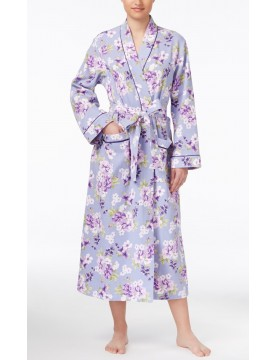 Women's - Satin-Trimmed Cotton Quilted Wrap Robe