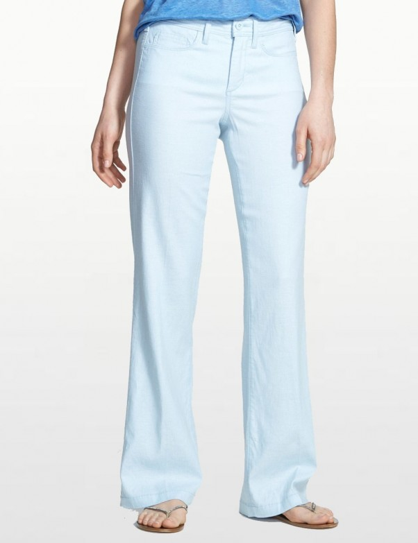 NYDJ - Wylie Pale Blue Wide Leg Linen Trousers *MQIG06GW