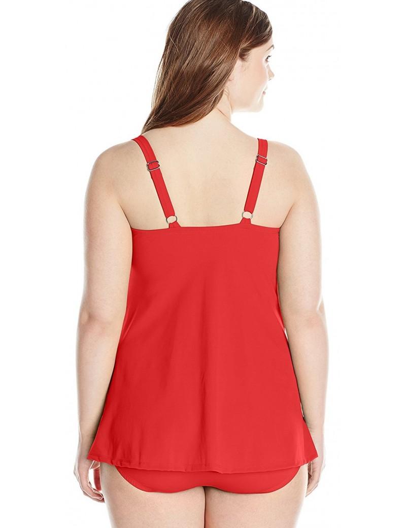 Jantzen- Plus-Size Solid Twist-Front Swim Dress in Iconic Red