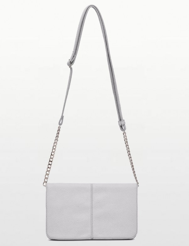 Mighty Purse - Silver Vegan Leather Crossbody Chargeing Purse