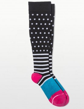 Dr Motion - Dots & Stripes Compression Socks in Black - 8-15mm Hg