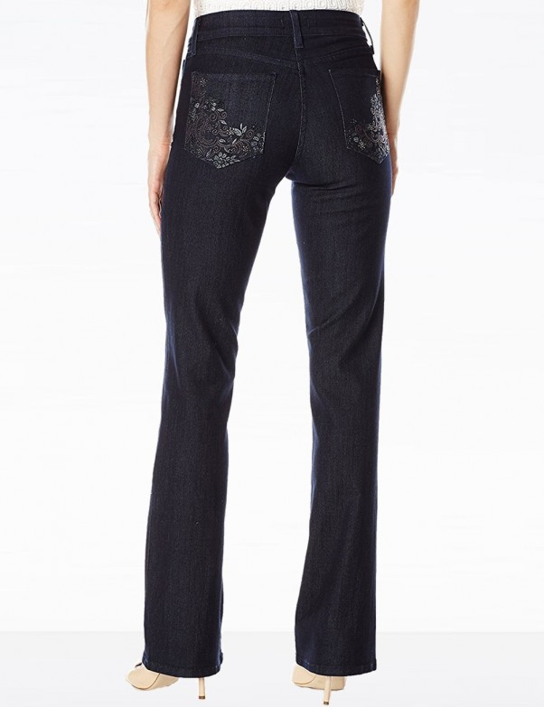 NYDJ - Barbara Bootcut Jeans in Dark Wash with Embellished Pockets *M10Z1851