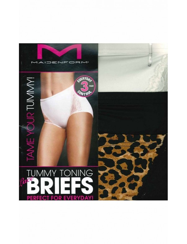 Maidenform - Flexees Tummy Toning Lace Briefs - 3 Pack