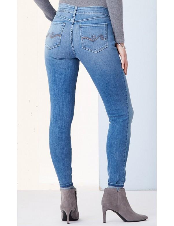 NYDJ - Ami Super Skinny Jeans in Helton Wash with Embellished Pockets *M66J28H74278
