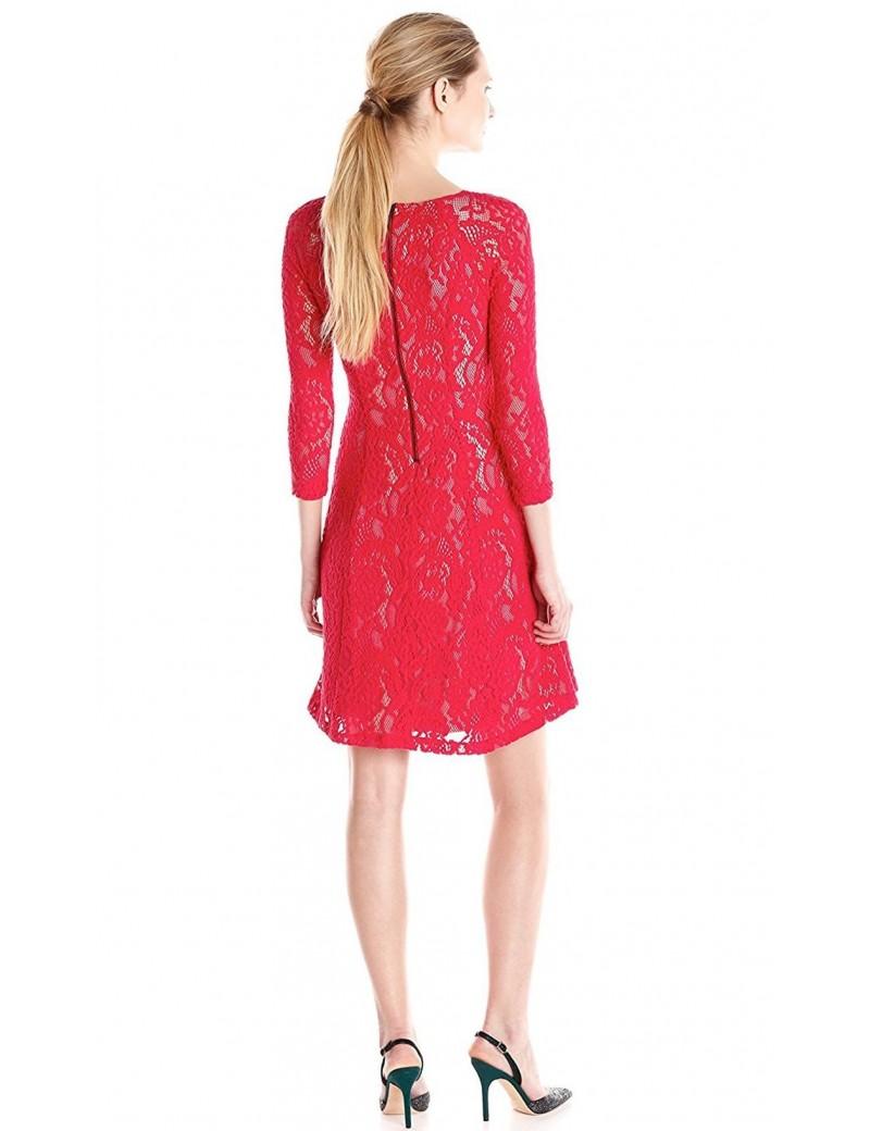 NYDJ - Amelia Lace Dress in Cardinal Red