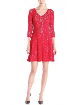 NYDJ - Amelia Lace Dress in Cardinal Red