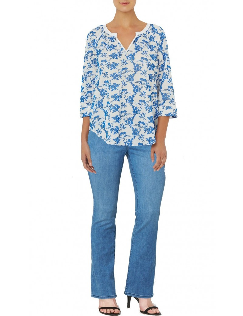 NYDJ - Voile Embroidered Three Quarter Sleeve Top