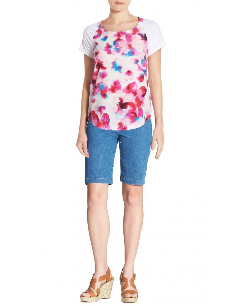 NYDJ - Women's Knit Jersey Mix Media T-Shirt