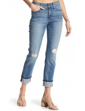 NYDJ - Marnie Boyfriend Jeans with Frayed Hem in Paloma Rip