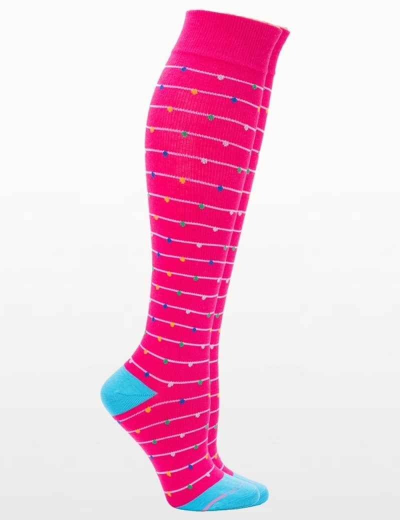 Women's Hot Pink Funfetti Everyday Compression Socks