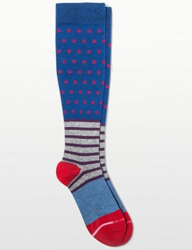 Dr Motion - Dots & Stripes Compression Socks in Blue - 8-15mm Hg