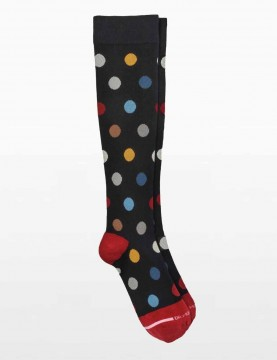 Dr Motion - Spotted Compression Socks in Maroon for Tired Legs