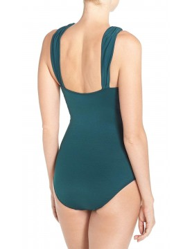 Miraclesuit - High Neck Criss Cross Swimsuit in Green