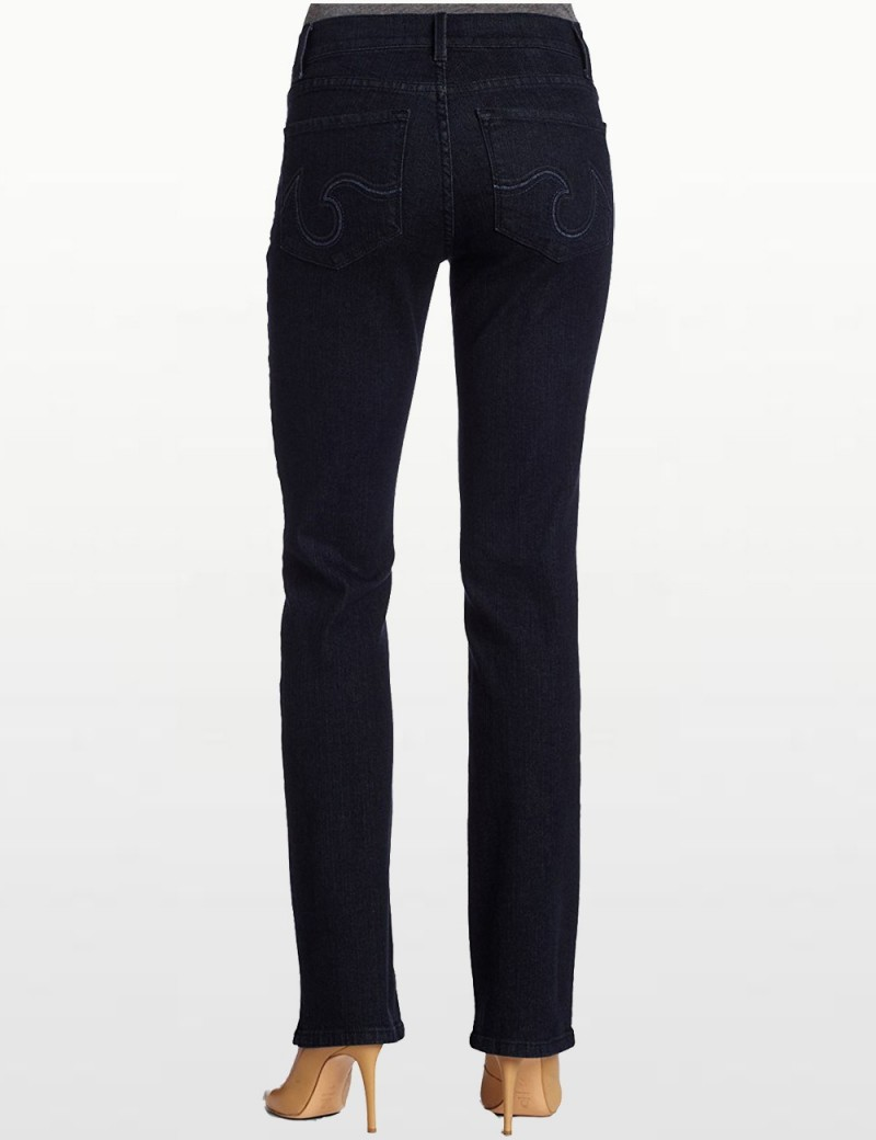 NYDJ - Marilyn Straight Leg in Blue Black with Embrodiery  *p70227T733