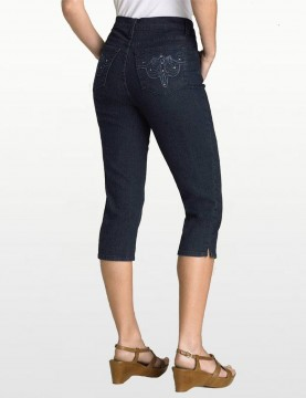 NYDJ - Blue Black Embroidered Rhinestone Capri's *788cr