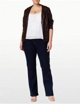NYDJ - Marilyn Straight Leg Jeans in Blue Black ( Plus ) *W731 - W731T
