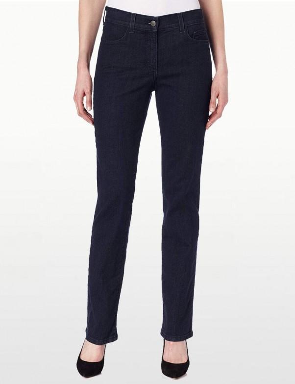 NYDJ - Marilyn Straight Leg Jeans in Blue Black Denim with Tonal Stitching *731T