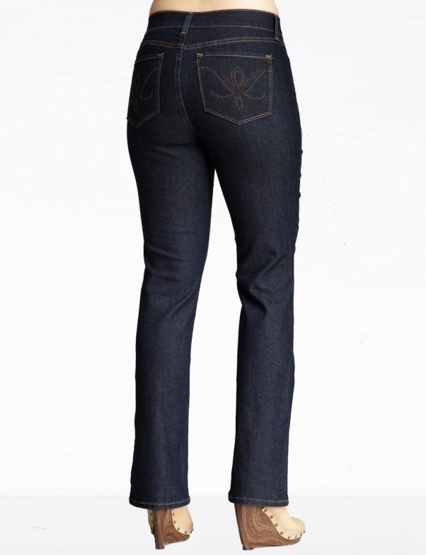 NYDJ - Barbara Bootcut Jeans in Dark Wash with Embellished Pockets *J84232P37