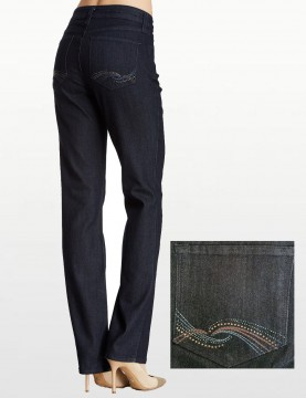 NYDJ - Marilyn Jeans in Dark Wash with Embellished Pockets *10227T3386
