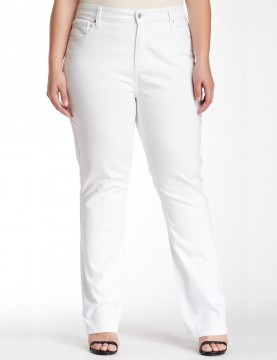 NYDJ - Marilyn Plus Size White Straight Leg Jeans  *WAMY1077