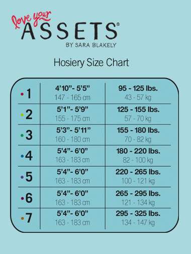 Assets by Spanx Hosiery Size Chart