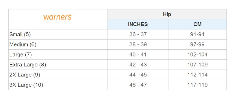 Warners Size Chart